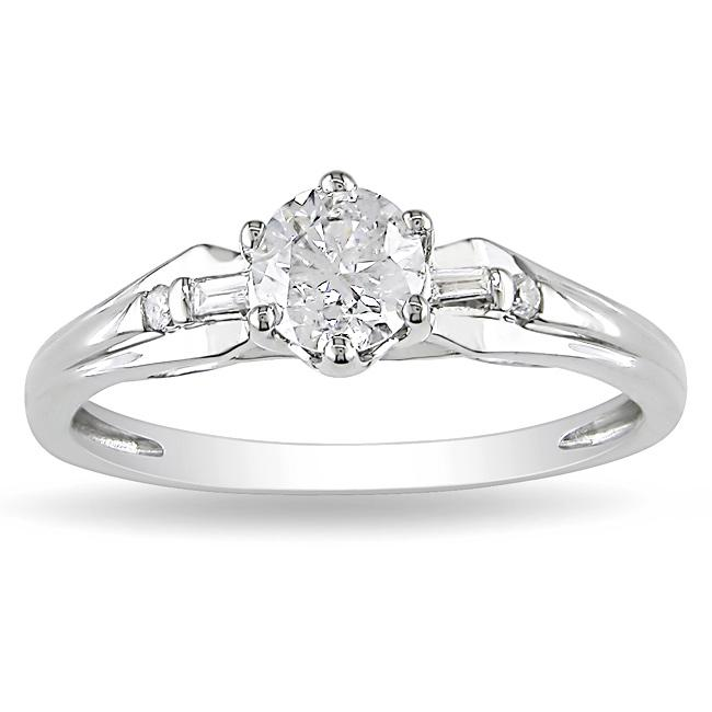 Miadora 14k White Gold 5/8ct TDW Diamond Engagement Ring (G-H, I2-I3)