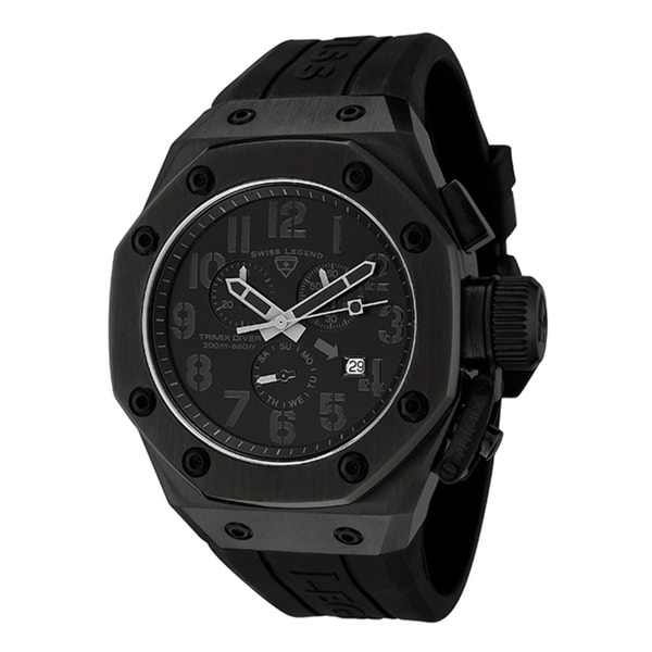 Swiss Legend Tri Mix Yellow : Swiss legend men s trimix diver black silicone chronograph