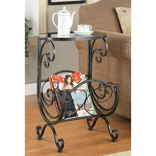 Crystal Metal and Glass Magazine Rack