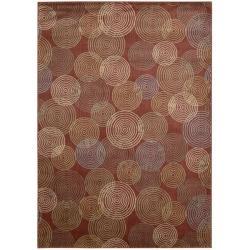 Nourison Monaco Red Abstract Rug (2'3 x 7'6) - Thumbnail 1