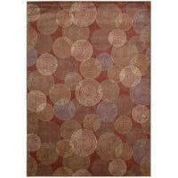 Nourison Monaco Red Abstract Rug - 2'3 x 7'6