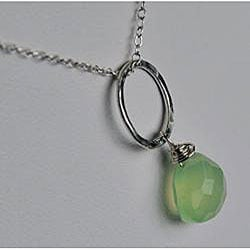 Silver and Green Chalcedony Circle Pendant Necklace