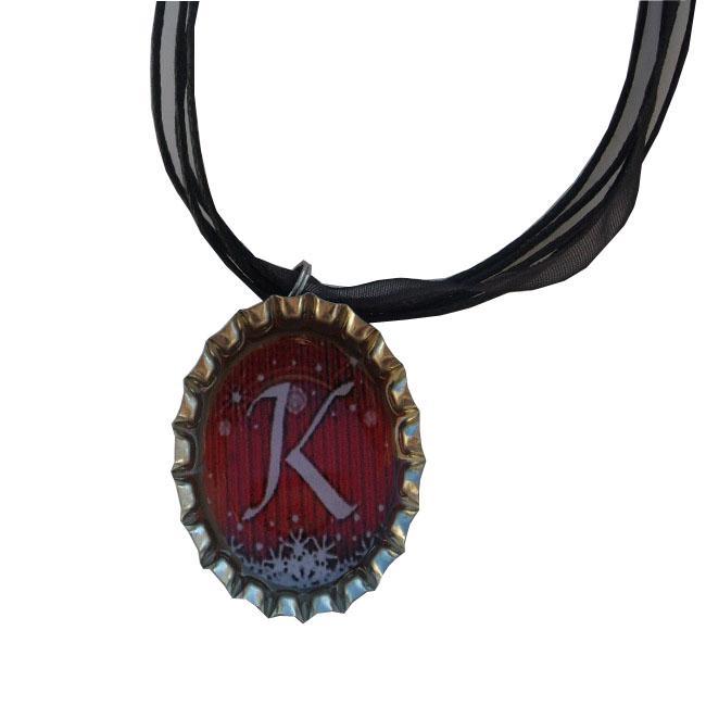 Red Monogram Snowy Bottle Cap Necklace