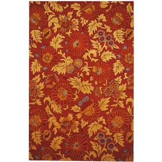 Herat Oriental Indo Hand-tufted Tibetan Rust/ Beige Wool Rug (6'6 x 10')