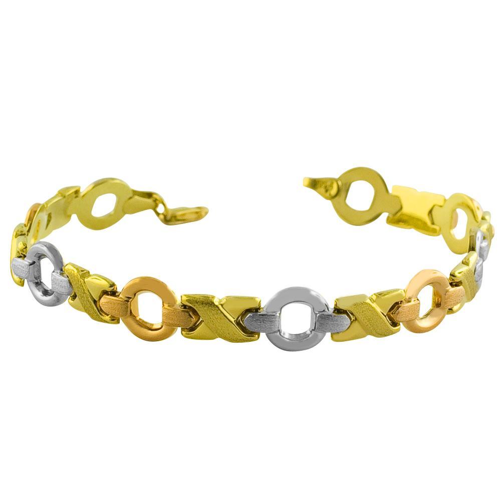 Fremada 14k Tri-color Gold XOXO Stampato Bracelet