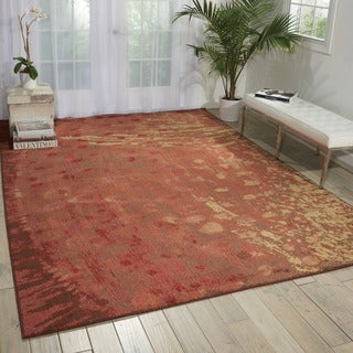 Nourison Contemporary Monaco Red Abstract Rug (7'9 x 10'10)