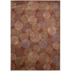 Nourison Monaco Red Abstract Rug - 7'9 x 10'10 - Thumbnail 0