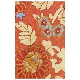 Herat Oriental Indo Hand-tufted Tibetan Rust/ Beige Wool Rug (1'9 x 2'6)