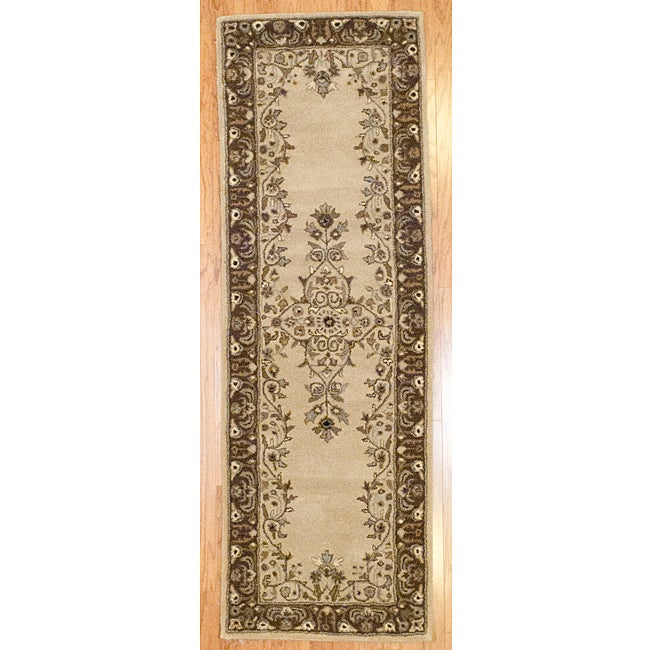 Hand-tufted Indo Beige/ Brown Wool Rug (2'5 x 7')