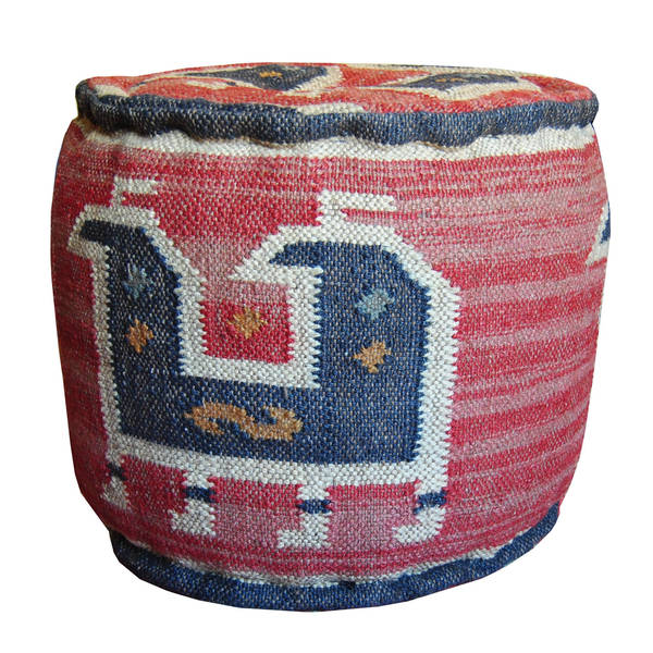 Shop Handmade Kilim Round Pouf Footstool India Free