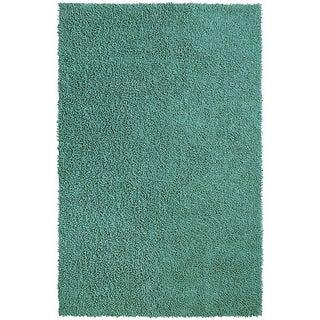 Hand-loomed Aqua Chenille Shag Rug (2'6 x 4'2)