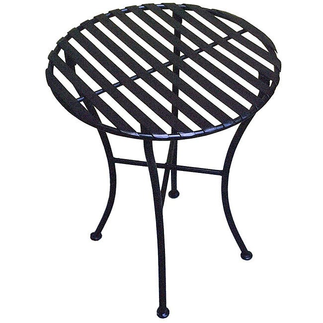 Outdoor Round Black Iron Folding Side Table