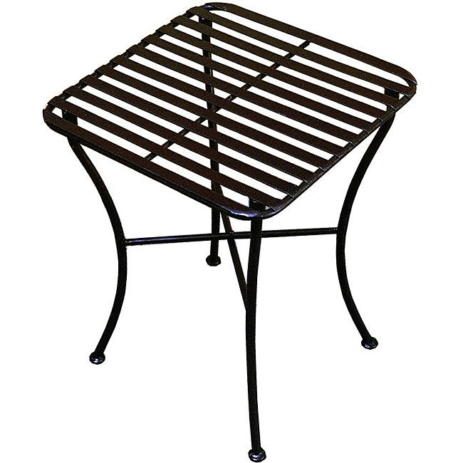 shop outdoor square black iron folding side table free shipping today 5473695. Black Bedroom Furniture Sets. Home Design Ideas