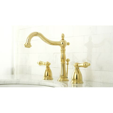 Three-Hole Polished Brass Widespread Bathroom Faucet