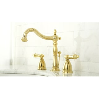 French Bathroom Fixtures french handle polished brass widespread bathroom faucet - free