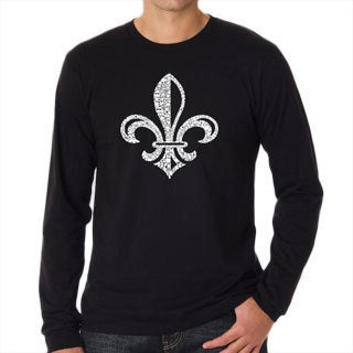 Los Angeles Pop Art Men's Black Fleur de Lis T-Shirt