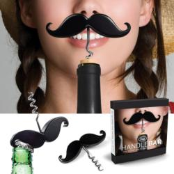 Hand-washable Handlebar Black Mustache-shaped Corkscrew Bottle Opener
