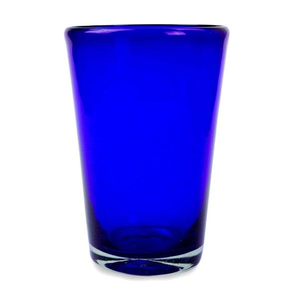 Handmade Set Of 6 Blue Angle Glasses Cobalt Angles