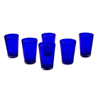 Handmade Set of 6 Blue Angle Glasses Cobalt Angles Drinking Glasses (Mexico)