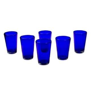 Handmade Blue Angle Glasses Cobalt Angles Drinking Glasses (Mexico)