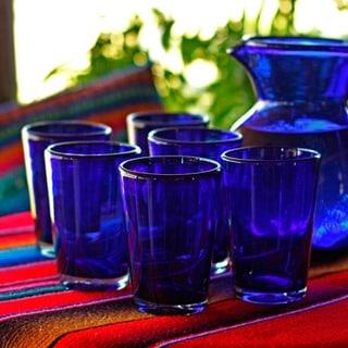Handmade Set of 6 Blue Angle Glasses Cobalt Angles Drinking Glasses (Mexico)
