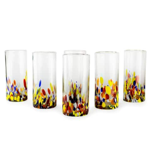 "Handmade Confetti Multicolor Bright Highball Set of 6 Glasses (Mexico) - 3.2"" x 6.75"""