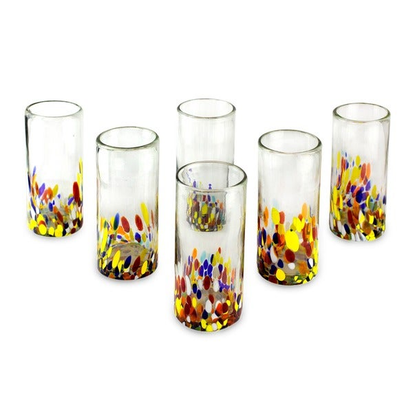 Hand Blown Set of 6 Confetti Multicolor Bright Highball Glasses (Mexico)