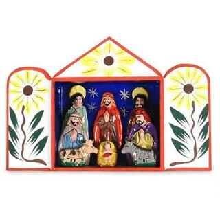 Handmade Ceramic 'Caring for Baby Jesus' Nativity Scene (Peru)
