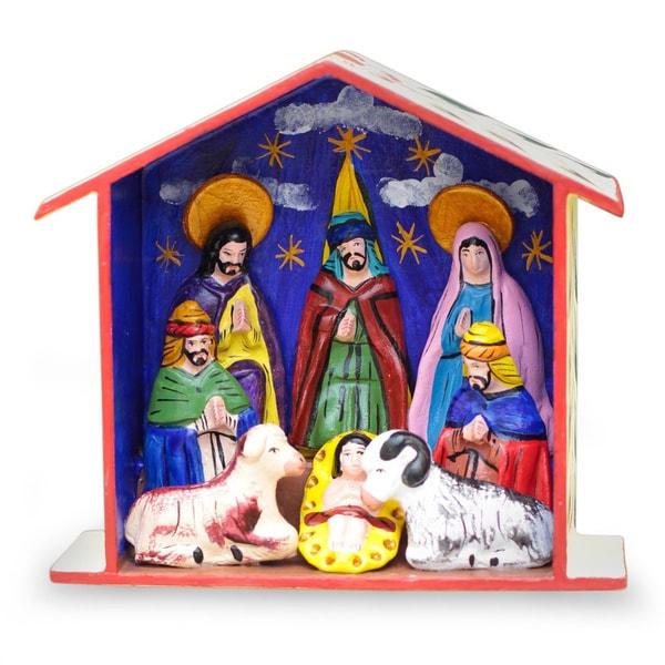 Handmade Ceramic 'Epiphany' Retablo Nativity Scene (Peru)