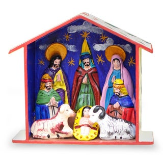Ceramic 'Epiphany' Retablo Nativity Scene (Peru)
