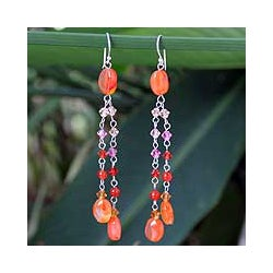 Silver 'Shimmering Perfection' Carnelian Waterfall Earrings (Thailand)