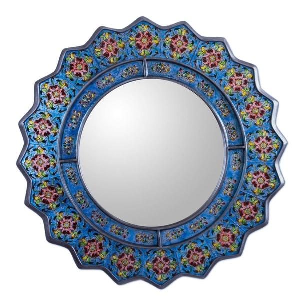 Handmade Flowers Birds Accent Wall Mirror (Peru) - Blue