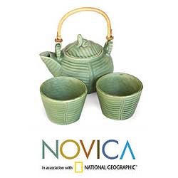 Ceramic 'Banana Frog' 2-person Tea Set (Indonesia) - Thumbnail 1