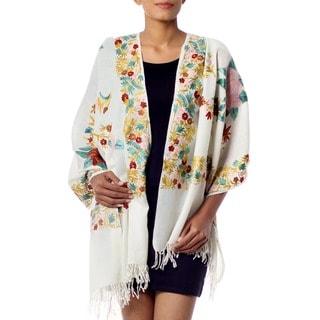 Wool 'Floral Daydream' Shawl (India)