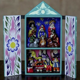 Ceramic 'Christmas in Quinua' Nativity Scene Retablo (Peru)