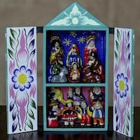 Ceramic 'Christmas in Quinua' Nativity Scene Retablo (Peru)