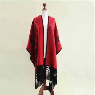 'Crimson Splendor' Alpaca Wool Ruana Cloak (Peru)