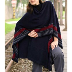 Handmade Alpaca Wool Nautical Navy Ruana Cloak (Peru)