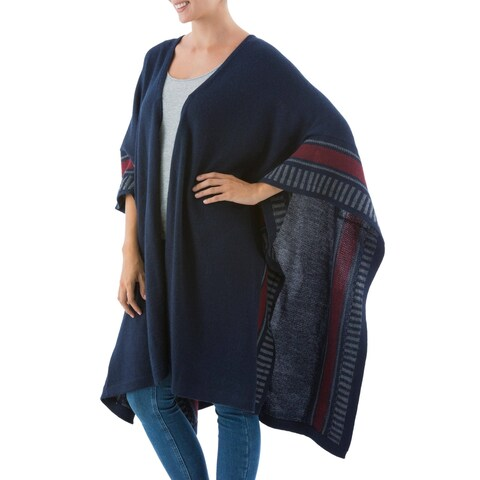 Handmade Alpaca Wool Nautical Navy Ruana Cloak (Peru)