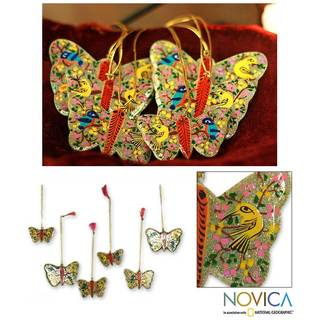 Handmade Set of 6 Wood 'Gleeful Butterflies' Ornaments (India)
