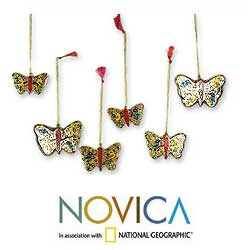 Handmade Set of 6 Wood 'Gleeful Butterflies' Ornaments (India)