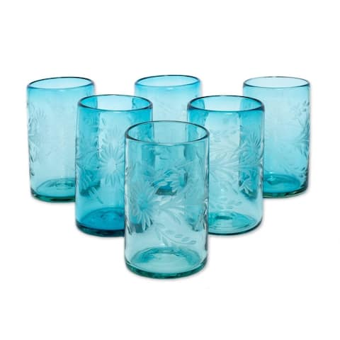 Handmade Blown Glass Aquamarine Flowers Etched Glasses, Set of 6 (Mexico)