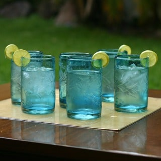 Set of 6 Blown Glass 'Aquamarine Flowers' Etched Glasses (Mexico)