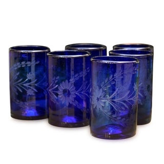 Handmade Set of 6 Blown Glass 'Blue Blossoms' Glasses (Mexico)