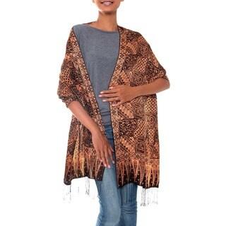 Handmade 'Java Patchwork' Silk Batik Shawl (Indonesia)