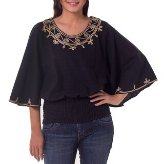 Handmade Womens Cotton Cool Night Jewel neckline embroidered Blue Blouse (Thailand)