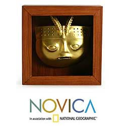 Papier Mache 'Sican Mask' Shadow Box Mask (Peru)