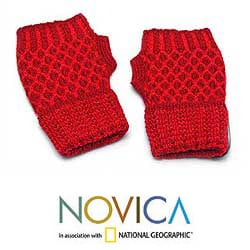 Handmade Alpaca Wool 'Holly Berry' Fingerless Gloves (Peru) - Thumbnail 1