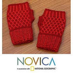 Handmade Alpaca Wool 'Holly Berry' Fingerless Gloves (Peru)