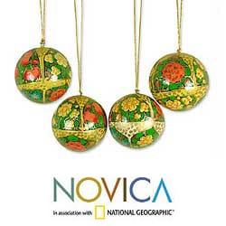 Set Of 4 Paper Mache 'Holiday Joy' Ornaments (India)